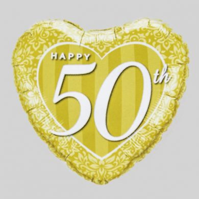 Happy 50th Anniversary Heart Helium Balloon