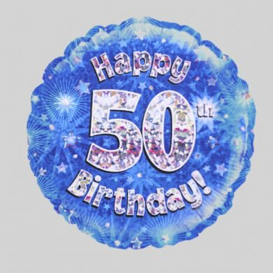 Happy 50th Birthday Balloon - Holographic Blue with stars