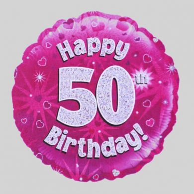 Happy 50th Birthday Balloon - Holographic Pink with hearts