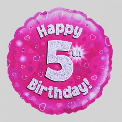 Happy 5th Birthday Balloon - Holographic Pink with hearts