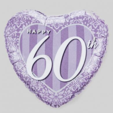 Happy 60th Anniversary Heart Helium Balloon