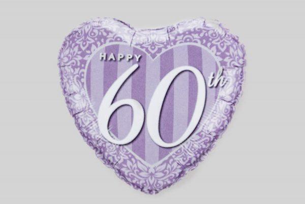 Happy 60th Anniversary Heart Helium Balloon