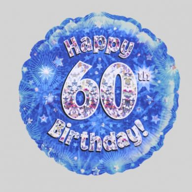 Happy 60th Birthday Balloon - Holographic Blue with stars