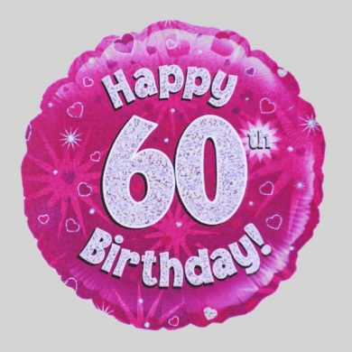 Happy 60th Birthday Balloon - Holographic Pink with hearts