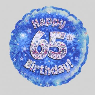 Happy 65th Birthday Balloon - Holographic Blue with stars