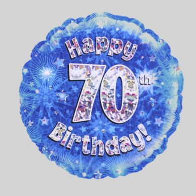 Happy 70th Birthday Balloon - Holographic Blue with stars