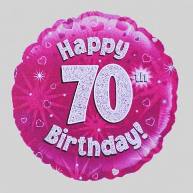Happy 70th Birthday Balloon - Holographic Pink with hearts