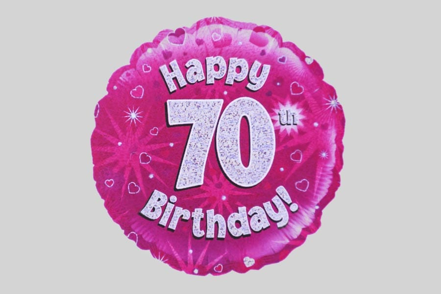 601 In Happy 70th Birthday Balloon Holographic Pink With Hearts