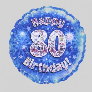 Happy 80th Birthday Helium Balloon Holographic Sparkling Blue