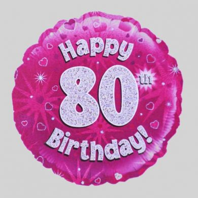 Happy 80th Birthday Helium Balloon Holographic Sparkling Pink