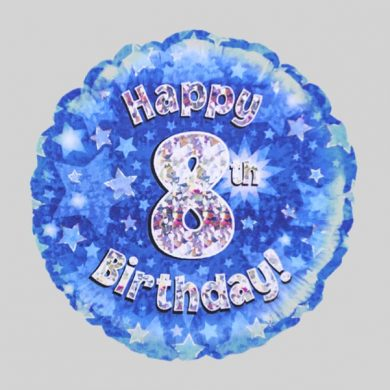 Happy 8th Birthday Balloon - Holographic Blue with stars