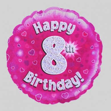 Happy 8th Birthday Balloon - Holographic Pink with hearts