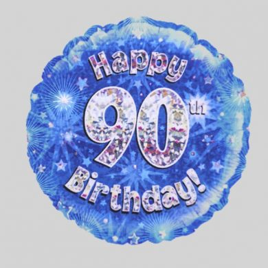 Happy 90th Birthday Balloon - Holographic Blue with stars