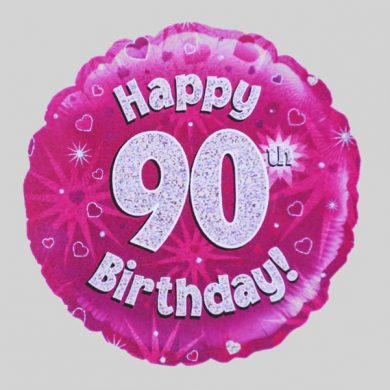 Happy 90th Birthday Balloon - Holographic Pink with hearts