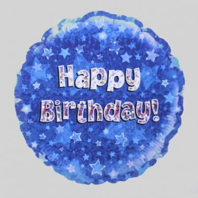 Happy Birthday Balloon - Holographic Blue with stars
