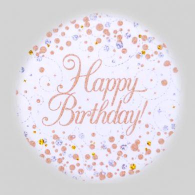 Happy Birthday Balloon - Sparkling Fizz Rose Gold, White