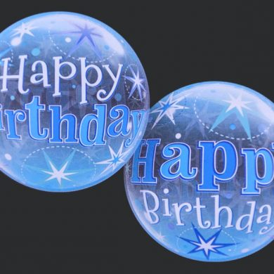 Happy Birthday - Blue - Clear Bubble Helium Balloons