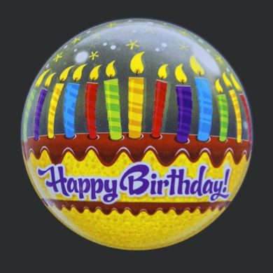 Happy Birthday Cake, Candles - Clear Bubble Helium Balloons