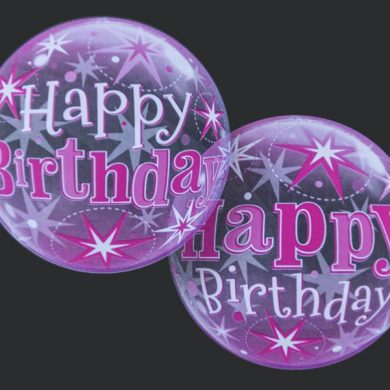 Happy Birthday - Pink - Clear Bubble Helium Balloons