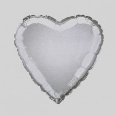 Silver Heart Helium Balloon