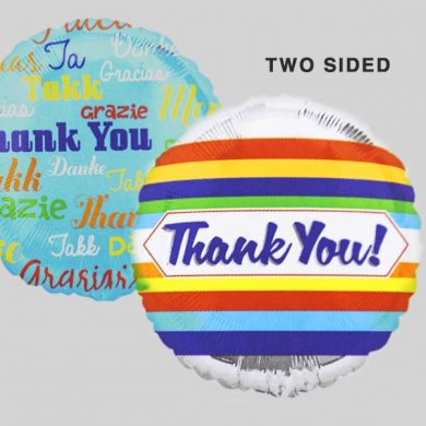 Thank You Languages-STRIPES Helium Balloons