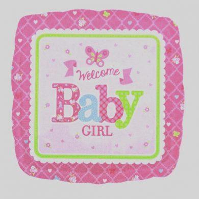 Welcome Baby Girl Pink Helium Balloons
