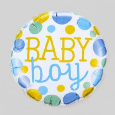 baby boy spotty round Helium Balloons
