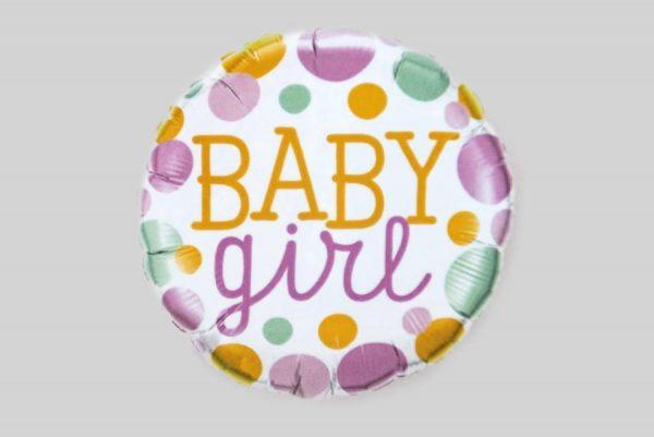 baby girl spotty round Helium Balloons