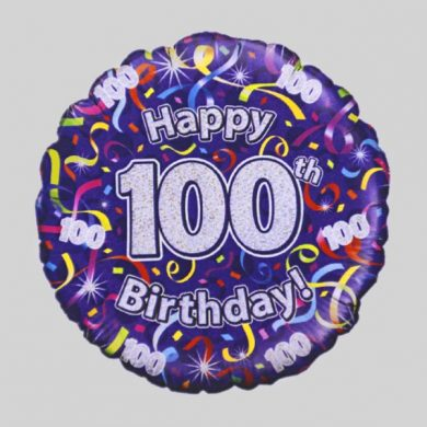 Happy 100th Birthday Helium Balloon - Streamers