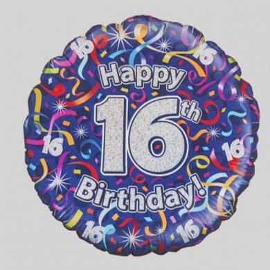 Happy 16th Birthday Helium Balloon - Streamers