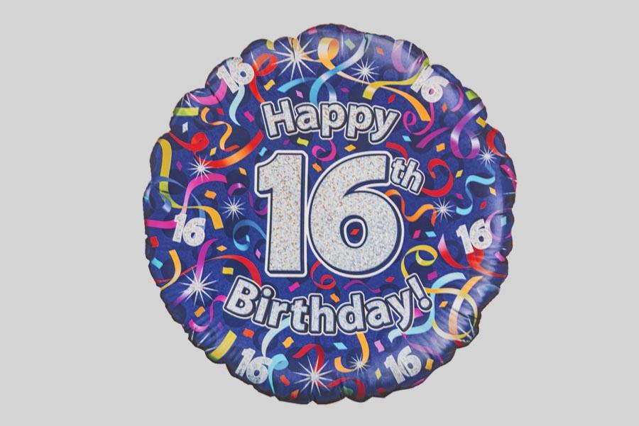 Happy 16th Birthday Helium Balloon