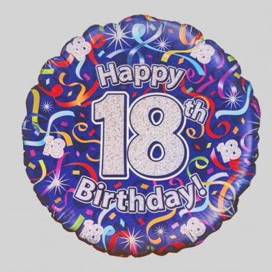 Happy 18th Birthday Helium Balloon - Streamers