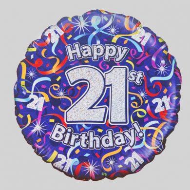 Happy 21st Birthday Helium Balloon - Streamers