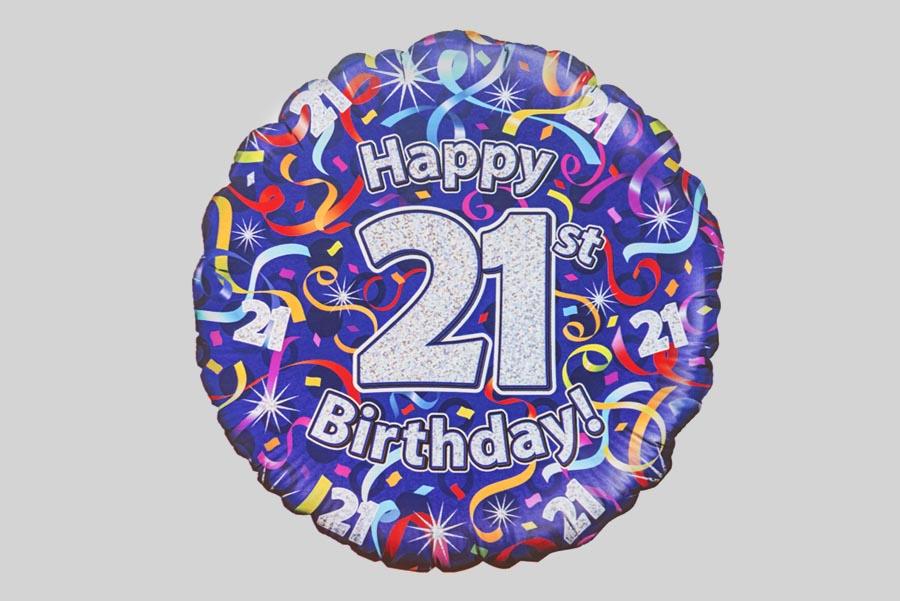 Happy 21st Birthday Helium Balloon