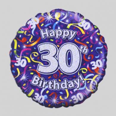 Happy 30th Birthday Helium Balloon - Streamers