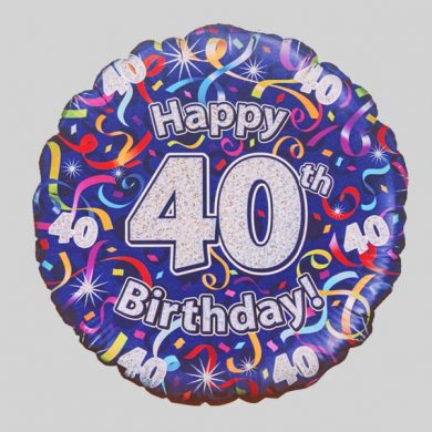 Happy 40th Birthday Helium Balloon - Streamers