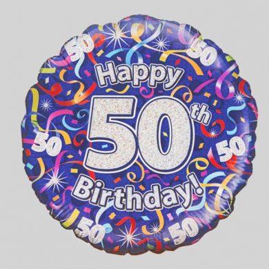 Happy 50th Birthday Helium Balloon - Streamers