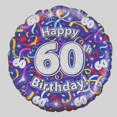 Happy 60th Birthday Helium Balloon - Streamers