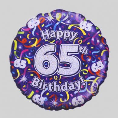Happy 65th Birthday Helium Balloon - Streamers