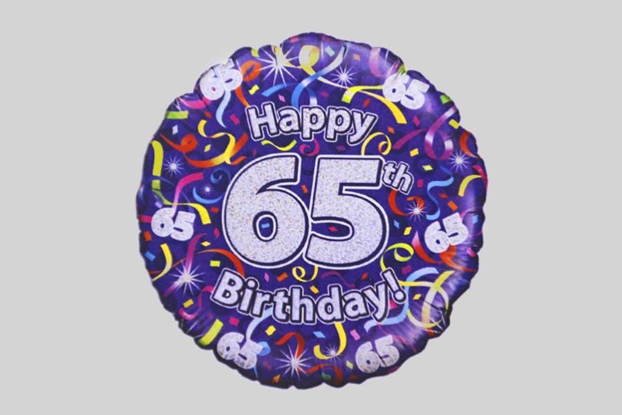 Happy 65th Birthday Helium Balloon