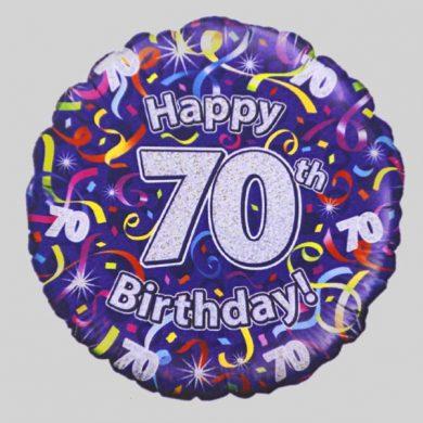 Happy 70th Birthday Helium Balloon - Streamers