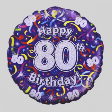 Happy 80th Birthday Helium Balloon - Streamers