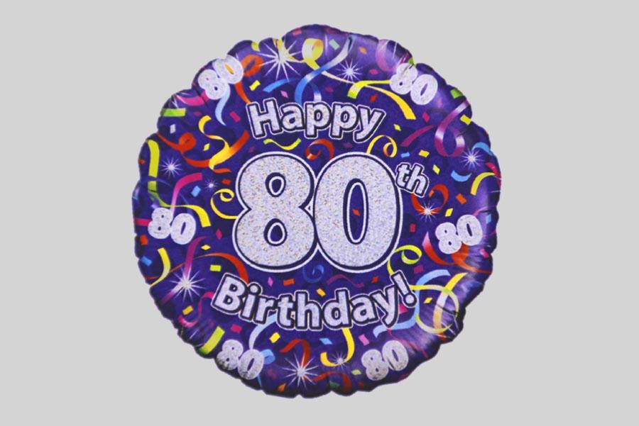 Happy 80th Birthday Helium Balloon