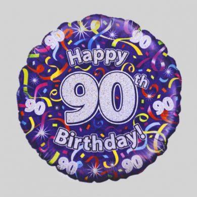 Happy 90th Birthday Helium Balloon - Streamers