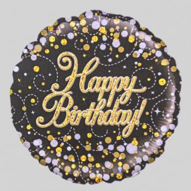 Happy Birthday Balloon - Holographic Gold glitter
