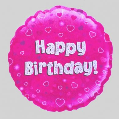Happy Birthday Balloon - Holographic Pink with hearts