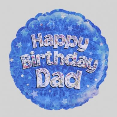 Happy Birthday Dad Balloon - Holographic Blue with stars