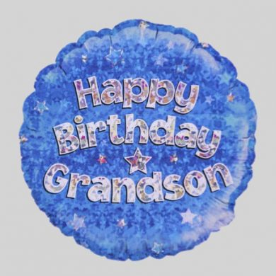 Happy Birthday Grandson Balloon - Holographic Blue with stars
