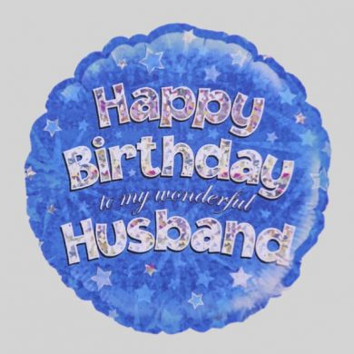 Happy Birthday Husband Balloon - Holographic Blue with stars