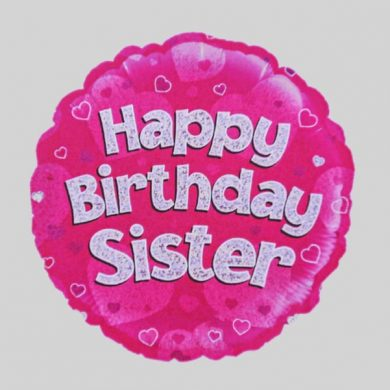 Happy Birthday Sister Balloon - Holographic Pink with hearts